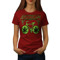 Wellcoda Amsterdam Weed Bike Womens T-shirt, Holland Casual Design Printed Tee