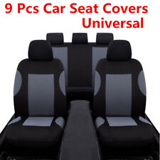 Universal 9 Pcs Breathable Polyester Gray Car Front+Rear 5 Sits Seat Covers Set