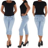 Damen Capri 3/4 Jeans Shorts Bemuda Kurze Hüft Stretch Hose 8775