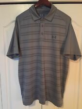 ⛳Under Armour HeatGear Coldblack Mens Large-L Golf/Polo Shirt-Gray Stripe⛳