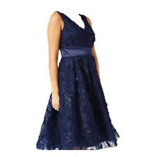 JACQUES VERT FEATHER SPARKLE PROM WEDDING EVENING GOWN DRESS NAVY SIZE 18 NEW