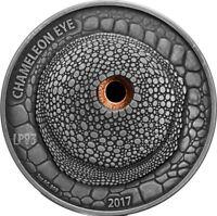 2017 1 Oz Silver 1000 Francs CHAMELEON EYE,Real Eye Effect Coin,Burkina Faso.