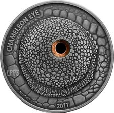 2017 1 Oz Silver 1000 Francs CHAMELEON EYE,Real Eye Effect Coin,Burkina Faso.