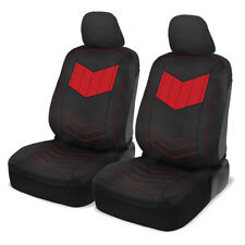 Car Sideless Seat Covers Motor Trend Red PU Leather Front Set Auto Truck SUV Van
