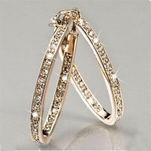 Large Hoop Earrings Diamante Bridal Round Rhinestone Silver Gold Crystal Party