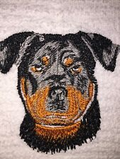Embroidered White Kitchen Bar Hand Towel- Rottweiler Dog Facing Forward  BS0787