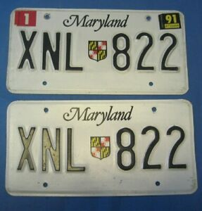 1991 Maryland License Plates matched pair excellent