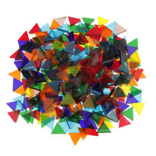 320g Colorful Triangle Rhombus Clear Glass Pieces Mosaic Tiles Craft Tessera