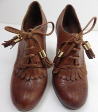 Bertie shoe boot victorian steampunk lace up size 37 brogue brown leather fringe