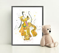 PLUTO Disney Print Poster Watercolor Framed Canvas Wall Art Nursery