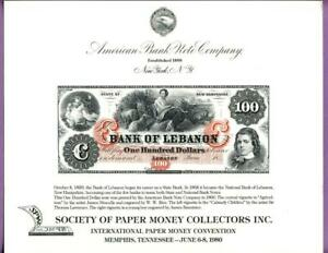 ABNC 1980 SPMC SO11 Souvenir Card $100 Bank of Lebanon New Hampshire Note Obv.