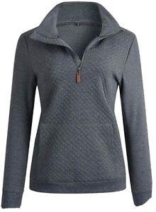 Quilted Quarter Zip Pullover - Medium - New