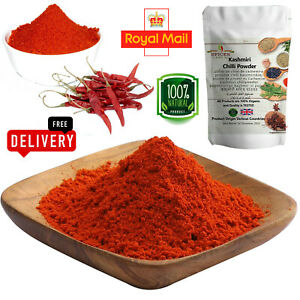 100% Pure Kashmiri Chilli Powder A-Grade Organic Red Ground Mirch Bhuki Spice UK