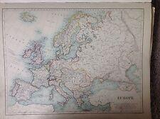 EUROPA-Inghilterra & GALLES (sezione del Nord) Antico Mappa 1891 Grande Atlante a 2 lati