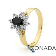 6x4mm Dark Natural Sapphire Diamond 9ct 9k Solid Yellow Gold Ring Size P 7.75