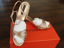 CLAUDIA CIUTI Didi rose gold leather strappy heels shoes Italy sz 9.5 - dressy