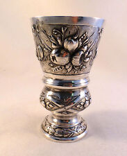 Great Hanau 800 Sterling Decorated Footed Cup -4 1/4""
