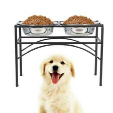 Dual Elevated Raised Pet Dog Puppy Feeder Bowl Stainless Steel Food Water Stand
