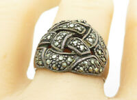 925 Sterling Silver - Vintage Marcasite Dark Tone Band Ring Sz 9 - R11290