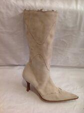 L.K.Bennett Beige Mid Calf Suede Boots Size 36.5