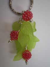 Silver tone Bag Charm / Keyring - Raspberry Bush - Red / Pink