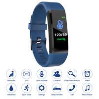 115plus Smart Armband Herzfrequenz Blutdruckuhr Schrittzähler Blau B137