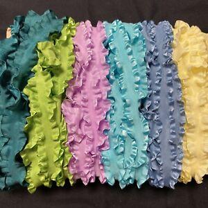 "Wrights Double Ruffle Ribbon 7/8"" Sampler 30 Yards Blue Aqua Yellow Purple Green"