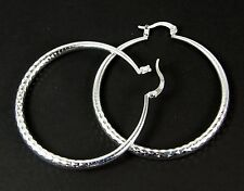 Women's 925 Silver Plated patterned Large Hoop Earrings Jewellery