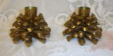 Vintage Pair Solid Brass Pinecone Candle Holders Christmas Tree