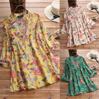 ZANZEA UK Womens Floral Print 3/4 Sleeve Casual Loose Tops Ladies Shirts Blouse