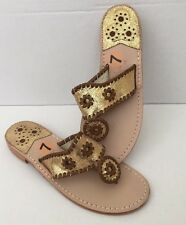 Jack Rogers Palm Beach Navajo Gold Crackle Leather Brown Stitch Sandals Sz 7 NEW