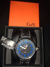 Bellos Core Mens Big Dial Designer Watch Leather Strap New Boxed Uk