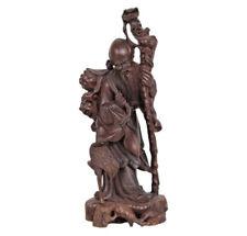China 20. Siglo Figura de Madera - a Dura Shou Lao & Crane
