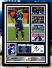 More details for (38) lionel messi psg signed unframed/framed photograph (reprint) @@@@@@@