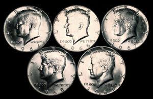 BU Silver Kennedy Half Dollars (1964-1969) U.S. Coins Lot x 5