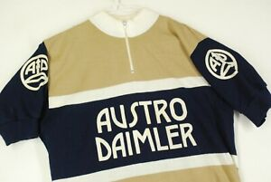 Vintage Austro Daimler Wool Cycling Racing Jersey Mens Womens Beige Blue