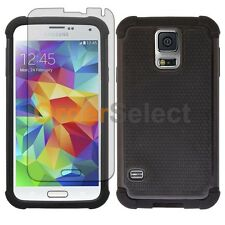 NEW Hybrid Rubber Case+LCD Screen Protector for Samsung Galaxy S5 Black 200+SOLD