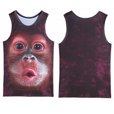 3D Stereo Printed Orangutan Monkey Pattern Men's Sports Sleeveless Tank Top (M)