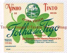 1940s BRASIL Caxias Viti-Vinicola Forqueta FOLHA DE FIGO Vinho Tinto Label