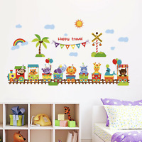 Wall stickers Animal Train Monkey Elephant Decor Removable Nursery Kids Baby