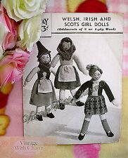 Vintage 1940s Dolls Toy Knitting Pattern, Welsh, Irish & Scots Girl Dolls