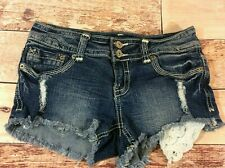 Almost Famous Womens Denim Shorts Size 3 Ripped Distressed Dark Wash Booty Short