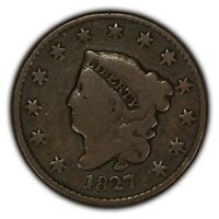 1827 1c Coronet Head Large Cent - Better Date - Chocolate Brown VG Coin -Y2374