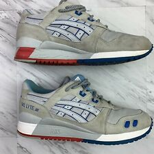 Asics Men's US 8 Gel Lyte III Sneakers Shoes Gray/red/blue  F5