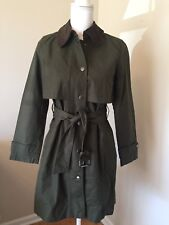 NWT J Crew Petite Field Trench Coat Sz PS Small Military Olive Green G9587