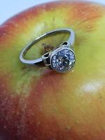Art Deco Solitär Ring mit  Altschliff Diamant 1.15 ct, vsi, i, Weißgold 585