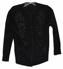 Vintage Black with Shiny Black Beads & Sequins Womens Cardigan Sweater Size S/M