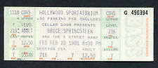 1981 Bruce Springsteen unused full concert ticket The River Tour Hollywood FL
