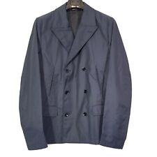 DOLCE & GABBANA Mens Blue Nylon Double Breasted Peacoat Jacket 50 (MSRP $1,495)