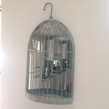 Distressed Rustic Beautiful Verdi Gris Bird Cage Hanging Mirror Indoors or Out